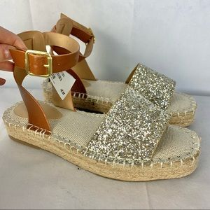 H&M NWT glitter espadrille platform sandals SZ 6